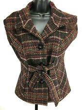 CAbi Jacket Vest S Wool Sleeveless Button Down Tie Wool Blend Plaid Woven Brown