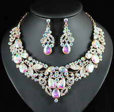 Gorgeous Floral AB White Austrian Crystal Rhinestone Necklace Earrings Set N948
