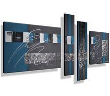 MK1 Art Bild Leinwand Abstrakt Gemälde Kunst Malerei modern Bilder Acryl blau XL