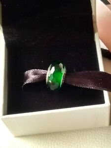 Genuine, Pandora Moments, S925 ALE, Emerald Green Faceted Charm, 791619 Retired
