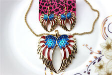 Betsey Johnson jewelry sets Enamel Flag wings pendant earrings necklaces YY808
