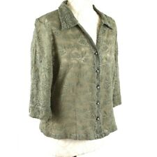 BELLA DI NOTTE Khaki Green Blouse 12 Lace Sheer 3/4 Sleeve Party Occasion Summer