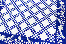 Blue & White Double Irish Chain FINISHED QUILT - w/ hand applique bdrs. - Queen