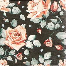 TOVAGLIOLI di carta 4x Single-Rose Colore Nero-per feste, decoupage