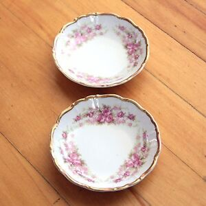 DRESDEN ROSE Grace China Bavaria Coasters Saucers (x2) Western Germany Gold Rim
