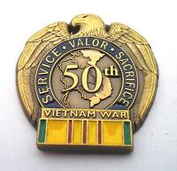 50TH ANNIVERSARY VIETNAM WAR  Military Veteran Hat Pin 13098 HO