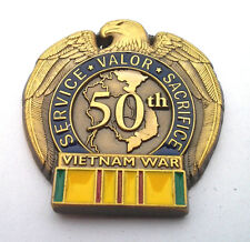 50TH ANNIVERSARY VIETNAM WAR  Military Veteran Hat Pin 13098 HO