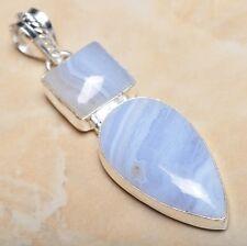 "Sterling Silver Pendant 2.75"" #P12762 Handmade Botswana Agate Onyx Jasper 925"