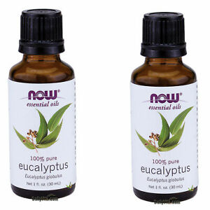 2 x NOW 100% Pure Eucalyptus Essential Oil 1 oz 30 mL Eucalyptus globulus, FRESH