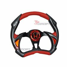 For 96-00 Civic 320mm JDM Steering Wheel Black Carbon Red PVC Horn Button + Hub