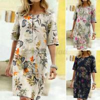 Women Summer Vintage Short Sleeve Sundress Knee Length Floral Pinted Shift Dress