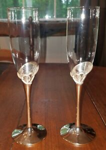 Lenox Forevermore Pattern Pair Silver Plated & Crystal Champagne Toasting Flutes