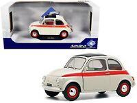 SOLIDO 1:18 1960 CREAM & RED FIAT 500 L NUOVA SPORT DIECAST MODEL CAR S1801401