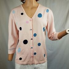 Designer Cardigan Knit Sweater Paola Todesco ITALY Made Pale Pink Colored Dots M