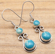 Simulated LARIMAR 2 Gemstone ART Earrings, 925 Silver Plated STYLE Jewelry