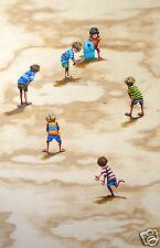 beach cricket art australia bondi kids art painting print coa by andy baker