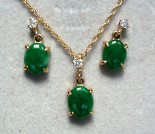 IMPERIAL JADE AND DIAMOND PENDANT AND EARRING SET 14K