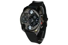 Dual Time Black Watch Rubber Mens Geneva Fashion Designer