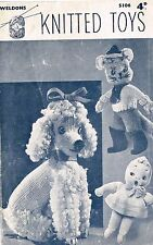 Vintage Toys (Poodle, Puss-in-Boots and doll) knitting pattern.Laminated copy