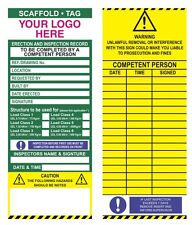 Bespoke Scaffold Tags inspection inserts packs 50 with company logo scaffolding