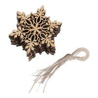 1X(10 pcs Sharp hexagonal wood snowflake ornament Christmas tree decor W. S Y5Y0