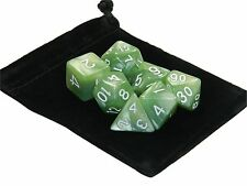 New 7 Piece Polyhedral Pearlescent Seafoam Green Dice Set With Bag D&D RPG