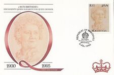 (94822) Maldives FDC Queen Mother 95th Birthday 6 July 1995