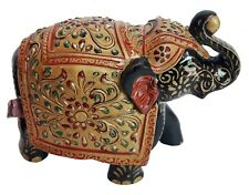 Wooden Elephant Old Hand Made Carved Unique Emboss Painted Home Art
