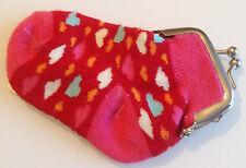 porte monnaie chaussette bébé couleur rose coeur fermeture couleur argent Div.