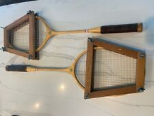 Vintage set of 2 Spalding Wood Badminton Rackets with Frames