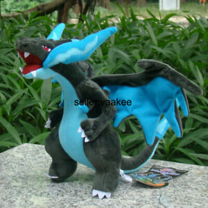 23cm Mega Shiny Charizard X Plush Stuffed Toy Cartoon Soft Doll Gift