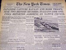 1942 APRIL 10 NEW YORK TIMES - JAPANESE CAPTURE BATAAN & 36,000 TROOPS - NT 1151