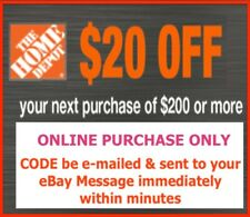 ONE 1x Home Depot Coupon $20 OFF $200  ONLINE USE ONLY Fast Immediate Delivery