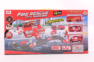 Fire Rescue Fire Engines Fire Truck Playset Track Childrens Toy Car Firefighter