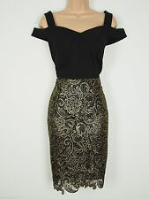 BNWT Definitions Black Gold Off The Shoulder Wiggle Pencil Dress Size 8 RRP £74