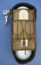 Coach Signature Leather Golf Ball Holder Logo Tees Divot Tool Marker F80459