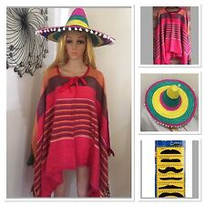 Mens Mexican Poncho And Sombrer Hat Wild West Cow Boy Adult Bandit Costume