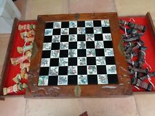Antique Asian Chinese Chess set Rare Hand Carved Wood Chest Ornate Artwork L@k