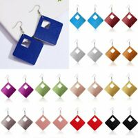 Charm Women Leather Drop Dangle Hook Earrings Rhombus Hollow Jewelry Geometric