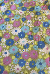 VTG Wabasso Flower Power Double Fitted Bed Sheet Purple Blue Green Retro Groovy