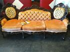 Antique Victorian Sofa Set  Stunning  Peach colored Couch  King and Queen chair
