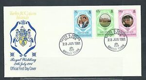 TURKS & CAICOS Diane and Charles Royal Wedding 1981 First Day Cover