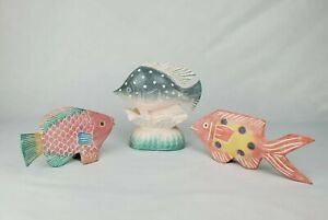 Vintage 3 Pcs Carved Wooden Tropical Fish Painted Lake Beach House Shelf Sitter