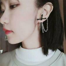 Men Womens Fashion Rock Punk Gothic Long Chain Cross Zipper Stud Drop Earrings