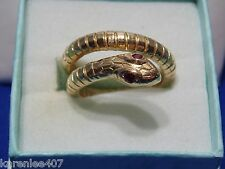 14 kt Solid Y/Gold Snake Ruby Eyes Ring Custom Design 8.8 Grams Unusual! New