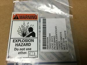 "2 PC  CNH Industrial  87364463   ID Marker ""WARNING! EXPLOSION HAZARD"""