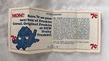 1974 FREAKIES CEREAL store coupon Ralston Purina box Snorkledorf character