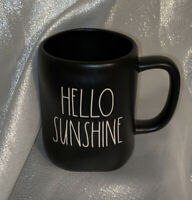 "Rae Dunn Artisan Collection ""HELLO SUNSHINE"" New Black Matte Mug Large Letter"