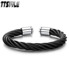 Mens TTstyle Black Stainless Steel Cuff Bangle NEW Arrival