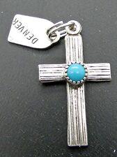 Vtg Sterling Silver Charm Cross Denver Turquoise Bead Southwestern Style 925